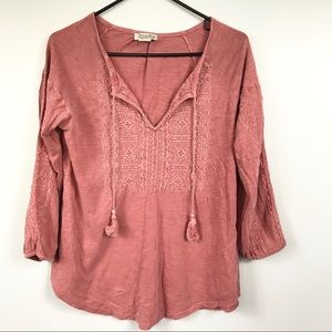 Lucky Brand Faded Red Embroidered Tassel Tunic S